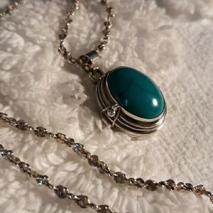 Sterling Silver and Turquoise Locket Necklace